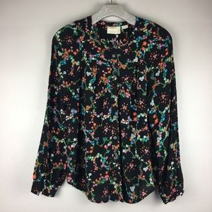 Maeve Black Motif Floral Long Sleeve Top- small